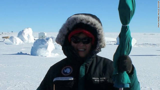 Renee-Nicole Douceur is shown at the National Science Foundation's Amundsen-Scott research station in Antarctica.