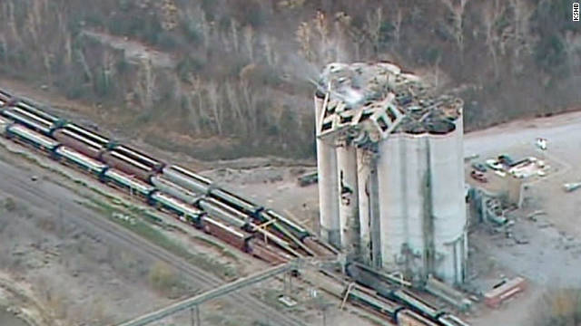Authorities are investigating the cause of a grain elevator explosion in Atchison, Kansas, on Saturday night.