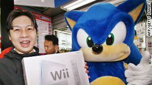 Sega\'s popular video game character, Sonic the Hedgehog, at a 2006 launch event for Nintendo\'s Wii.