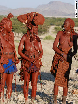 The Herero used to belong to the same group as the Himba (pictured) but German missionaries influenced their style of clothing. The Herero worked for the Germans and were forced to cover up to fit in with their modest Victorian attitudes. 