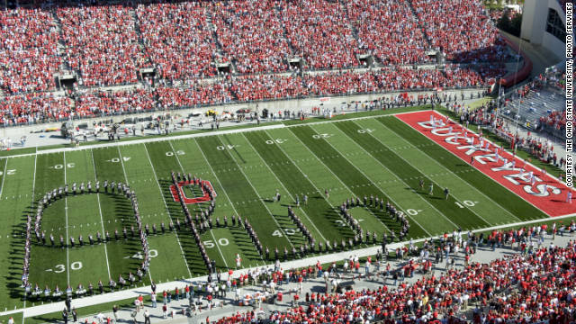 "The sousaphone player dots the ""i"" when the Ohio State marching band spells out the word ""Ohio"" before the game."