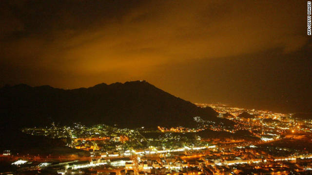 The electric glow over Mecca after sunset during the Hajj. The Green Pilgrimage Network, launched last week, aims to promote a culture of sustainability at pilgrimage sites around the world.