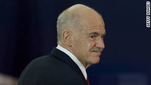 Greek Prime Minister George Papandreou arrives for a eurozone bailout plan meeting Wednesday in Cannes, France.