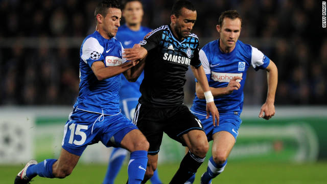John Terry was an unused substitute as Chelsea drew 1-1 away to Genk in the Champions League.