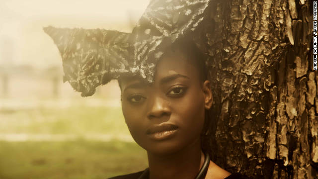 A model displays a butterfly shaped head piece from the Maki Oh collection of Nigerian designer, Amaka Osakwe.