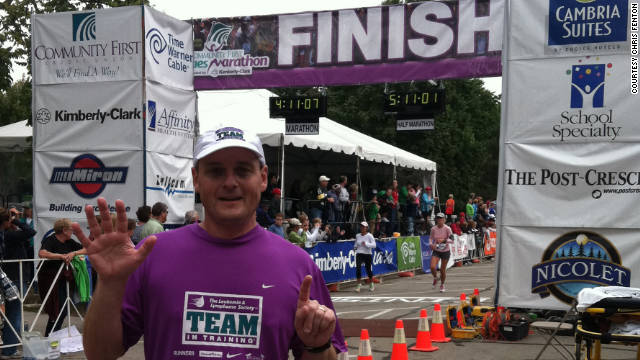 Chris Fenton completed his sixth marathon of the year in Appleton, Wisconsin, in September.