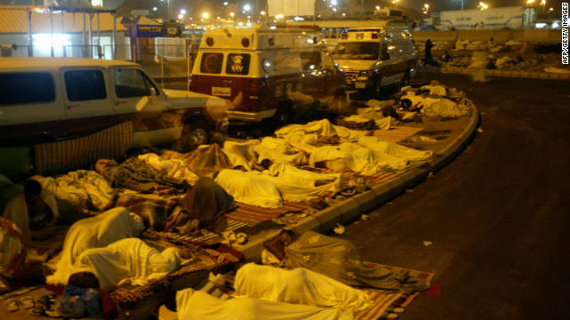 Muslims sleep on the street in the run up to the final stage of the Hajj pilgrimage in the Mina valley, just outside Mecca in 2010. To prevent overcrowding, it's been suggested that Muslims should only perform the Hajj once in their lifetime. 