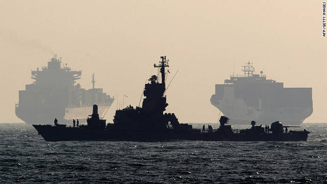 An Israeli navy vessel patrols off the southern port of Ashdod on July 19, 2011. 