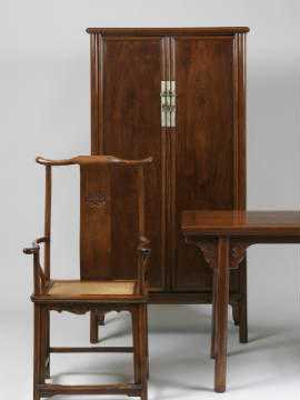 Examples of Huanghuali furniture from the late Ming-early Qing period, on view at Asian art dealers Eskenazi Limited in London.