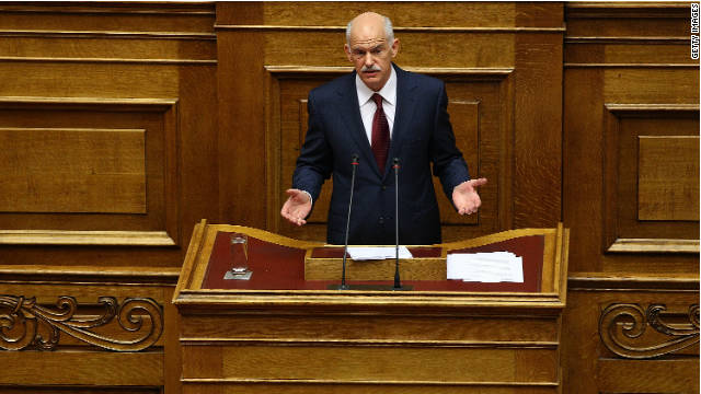 Greek Prime Minister George Papandreou resigning
