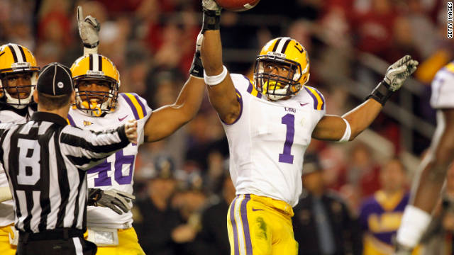 Eric Reid of the LSU Tigers reacts after catching a key interception during the team's 9-6 win over the Alabama Crimson Tide.