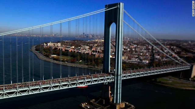 Runners cross the Verrazano-Narrows Bridge toward Brooklyn on Sunday.