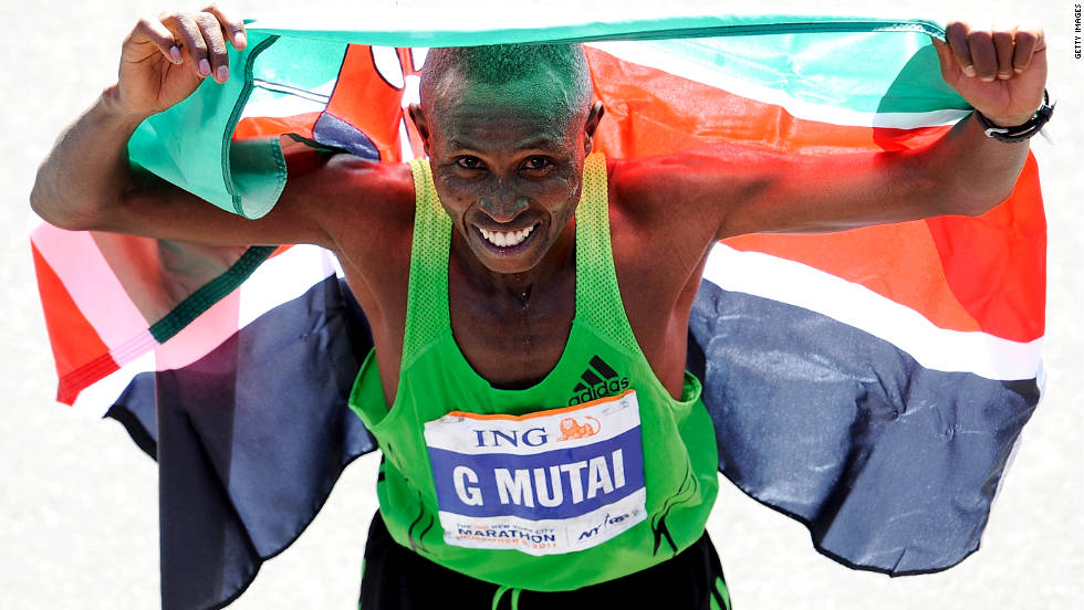 Geoffrey Mutai of Kenya set a new course record in the ING New York City Marathon on Sunday, November 6. He finished at 2:05:06, breaking the old record by nearly three minutes.