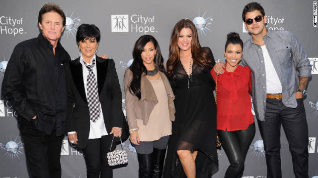 The whole family: Bruce Jenner, from left, and the Kardashians; Kris, Kim, Khloe, Kourtney and Robert, pose for a family shot.