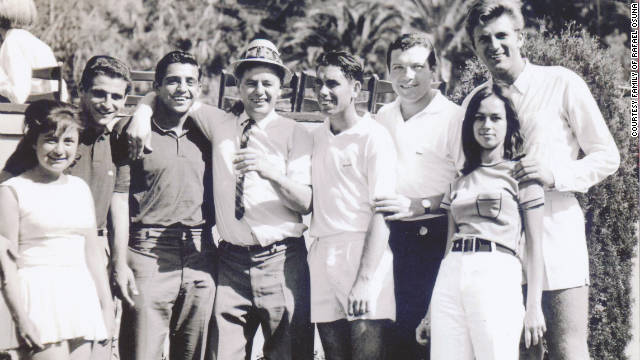 Rafael Osuna with friends and fellow star players Nicola Pietrangeli, Manuel Santana and Pierre Darmon