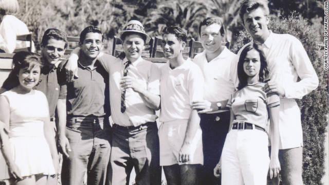 Rafael Osuna with friends and fellow star players Nicola Pietrangeli, Manuel Santana and Pierre Darmon