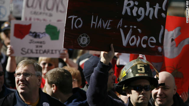 Union supporters fought back against Gov. John Kasich's bill limiting rights of public employee unions in Ohio.