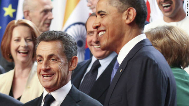 French President Nicolas Sarkozy and U.S. President Barack Obama were caught off-guard at the G20 summit .