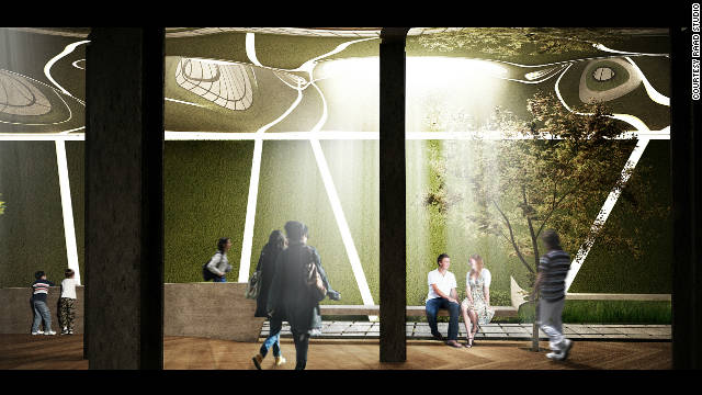 "A digital rendering of how the park could look: ""This will be a distinctive testament to the varied applications and incredible promise of solar power,"" said co-founder Dan Barasch. ""It would also bring a slice of nature into one of New York's least green areas, and encourage people to think about their relationship with the environment."""