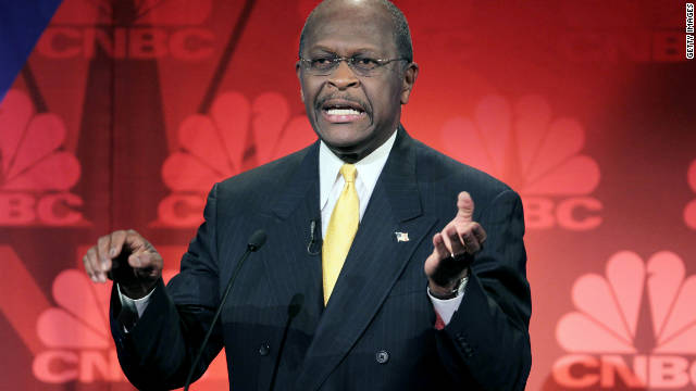 Herman Cain speaks during a debate Wednesday at Oakland University in Rochester, Michigan.