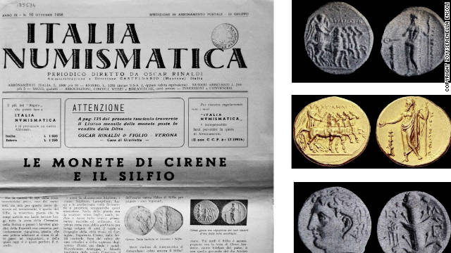 Ancient Greek gold and silver coins listed in the original Italian inventory of the 