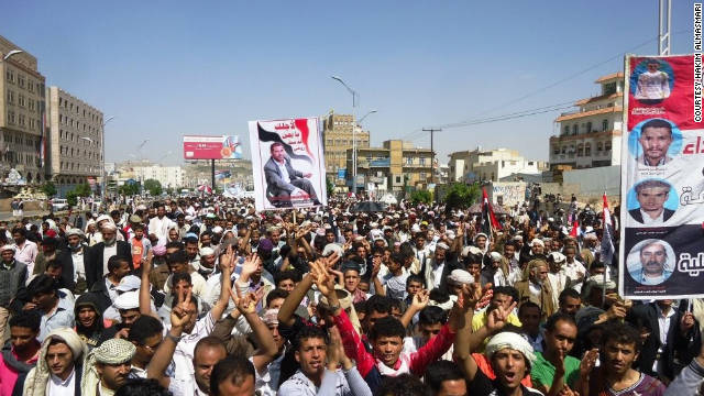 Sanaa was the site of the largest march, with an estimated 200,000 joining in a three-hour trek around the capital.