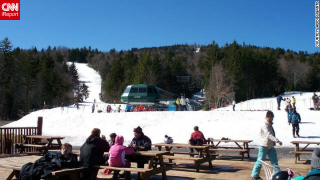 "iReporter Belle1708 took this photo at Snowshoe. ""Snowshoe really exceeded our expectations. Having only been out west, I was nervous about a smaller mountain. But Snowshoe really knows what they're doing, and we felt like we were really in a big mountain ski village."""