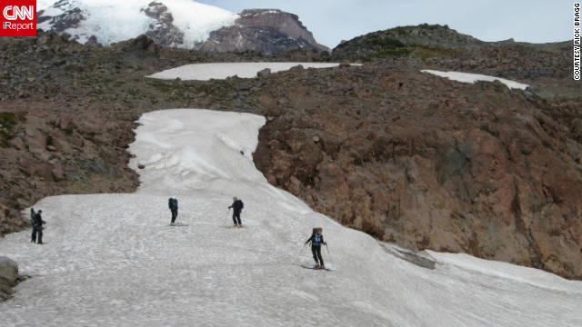"Rick Bragg took this photo of skiers on the glaciers of Mount Rainier in Washington. ""Everyone should see this region at least once in their life. It's truly a national treasure."""