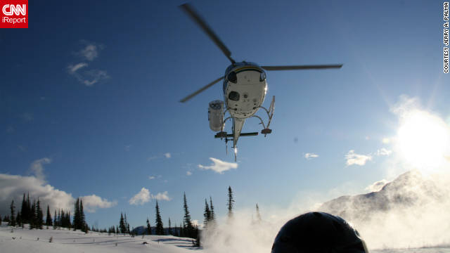 "Jerry A. Palma took this photo ""within an arm's reach"" during his heliskiing trip in Blue River. ""It's the only way to ski. Once you've heliskied, groomed runs are just not the same anymore."""