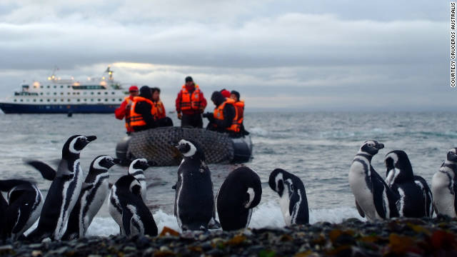 The expedition ships of Cruceros Australis bring passengers close to soaring condors, penguin colonies and glaciers.