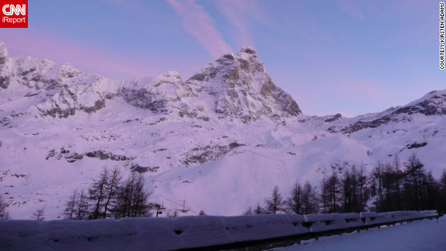 &quot;This picture of Cervino was taken before the sun rose over the mountains from the apartment I was staying at in Breuil-Cervinia, Italy,&quot; Kirsten Adams said of her photo. &quot;The luminosity of the pink clouds was phenomenal, almost ethereal.&quot;