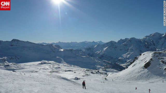 "Kirsten Adams took this photo while venturing on a ski trail in Cervinia. ""The layers of mountain peaks were breath-taking,"" she said."