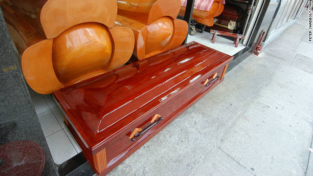 Caskets on display at a Hung Hom funeral shop