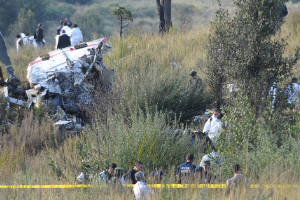 Escena de la tragedia aérea donde murió Blake Mora