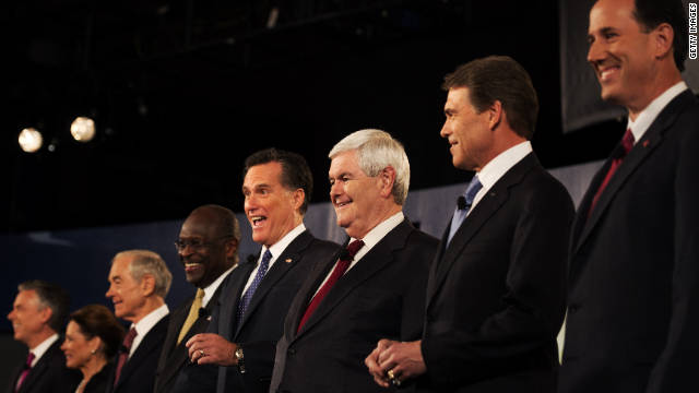 Republican presidential candidates are introduced to the audience at the South Carolina Presidential Debate at Wofford College.
