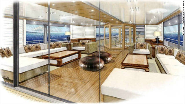Features onboard include a beach salon, swimming pool, beauty salon and fitness center.
