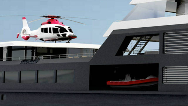 There is an helipad on deck and a hangar below, meaning that a helicopter is protected from the elements and can stay on board.