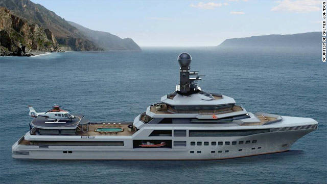 "The superyacht features a six-man submarine that can be driven into her very own ""James Bond-style"" garage."