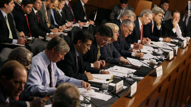 Members of the Joint Deficit Reduction Committee hold a hearing October 26 in Washington.
