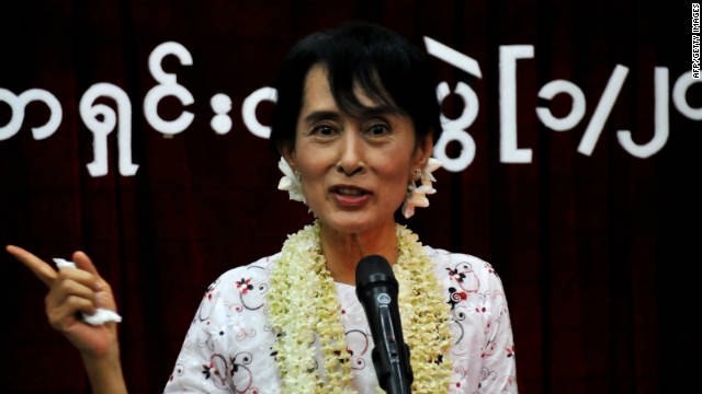Aung San Suu Kyi talks during press conference at National League for Democracy (NLD) headquarter in Yangon in November.