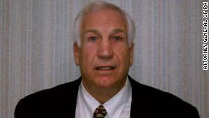 Jerry Sandusky, 67, is charged with 40 counts of sexual abuse of eight young boys over several years.