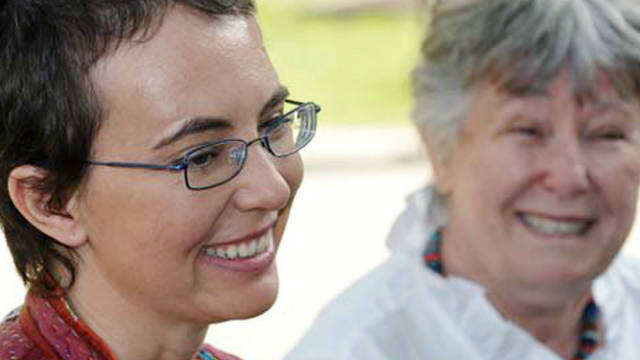 Gabrielle Giffords, left, who was shot in January, is pictured with her mother Gloria after months in recovery.