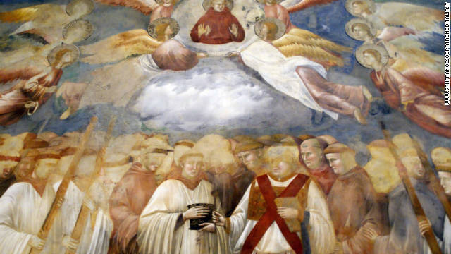 Giotto's fesco of the ascension of St. Francis in the Basilica of St. Francis in Assisi.<!-- --> </br><!-- --> </br> A devil's face was recently discovered in the swirling cloud at the center of the fresco.