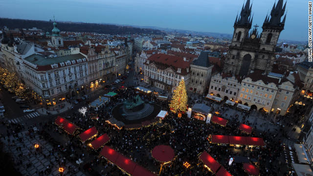Prague's beautiful Staroměstské náměstí, or Old Town Square, is downright ethereal during Christmas.