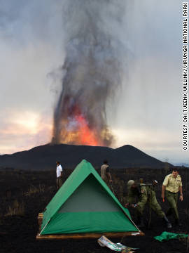 The team from Virunga National Park set up a camp near the volcano.