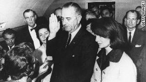 Vice President Lyndon Johnson being sworn in as president after JFK\'s assassination may be the most famous picture ever taken aboard a presidential aircraft.