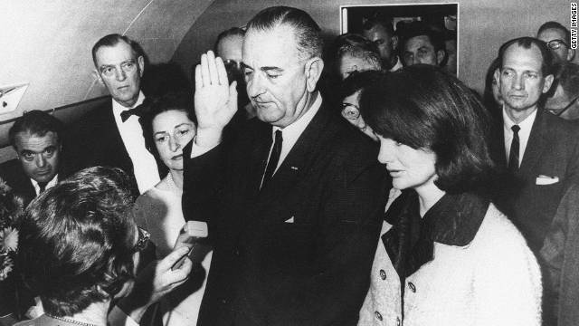 LBJ sworn in on Air Force One.