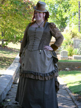 "Gretchen Jacobsen models her ""tweedtastic bustle."""