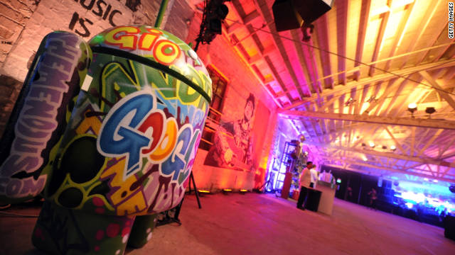 A graffitied version of the Android robot was on hand for the Google Music announcement on Wednesday.