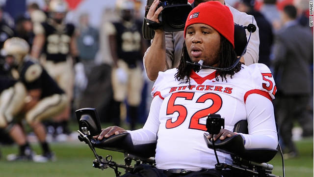 Former Rutgers football player Eric LeGrand participates in the coin toss before last week's Rutgers v. Army game.